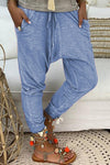 Solid Paneled Side Pockets Self-tie Casual Harem Pants