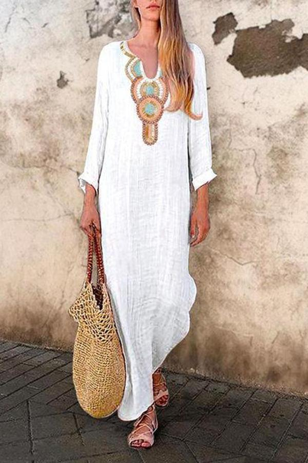 Holiday Casual Long Sleeve Tribal Maxi Dress
