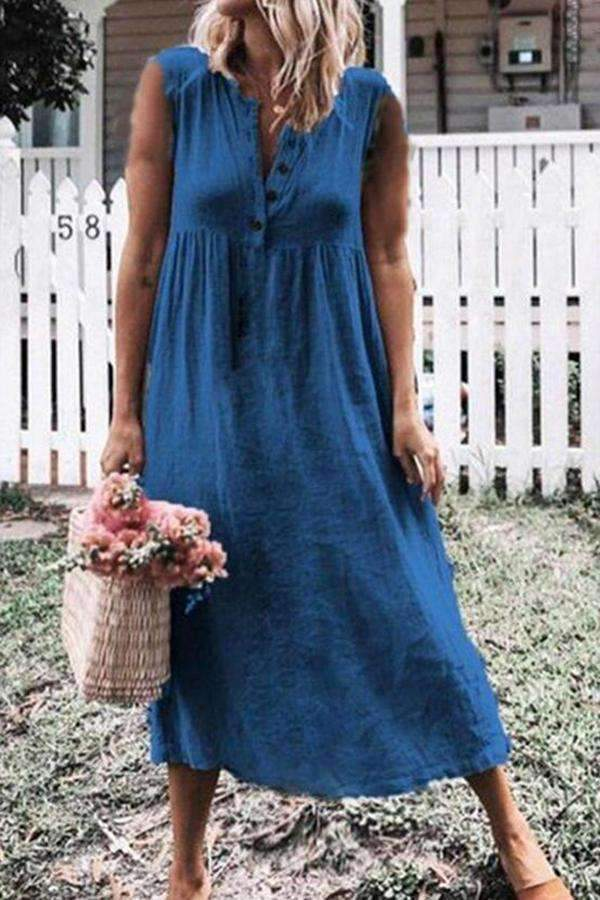 Button Front Casual Cotton Maxi Dress - Regocy