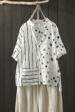 Loose Linen Polka Dot Stripe Short Sleeve Stand Neck Blouse