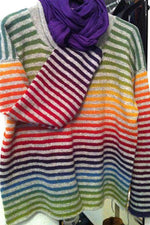 Casual Stripe Round Neck Colorful T Shirt