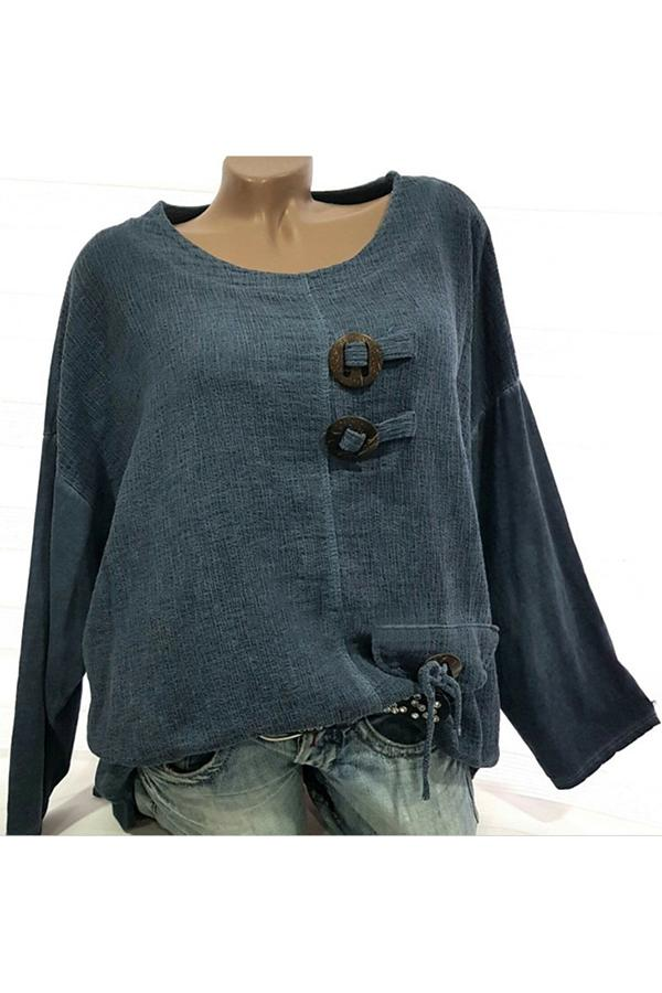 High Low Solid Long Sleeve Linen Blouses - Regocy
