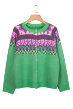 Casual Printed Buttons Down Knitted Sweater