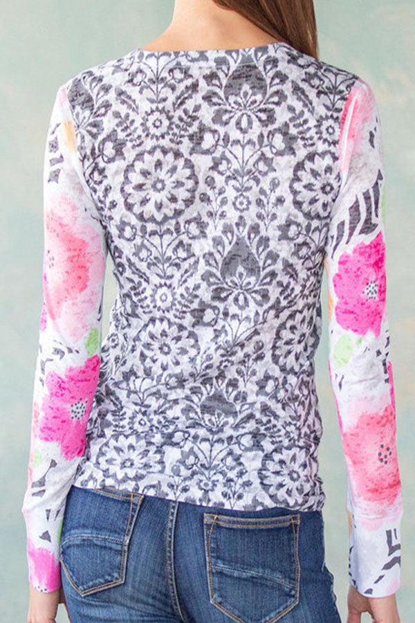 Sweety Floral Print Color-block Paneled Sheath T-shirt