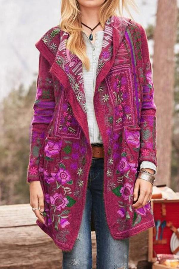 Vintage Casual Print Lapel Collar Coat