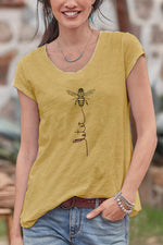 Casual Bee Print Round Neck  T Shirt