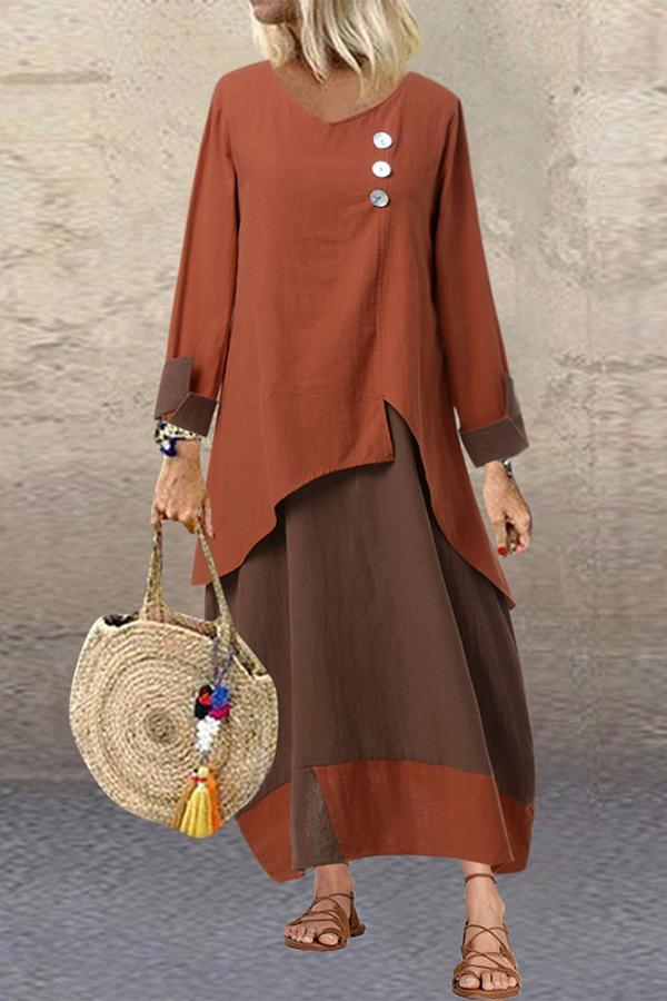 V Neck Paneled Long Sleeves Maxi Dress
