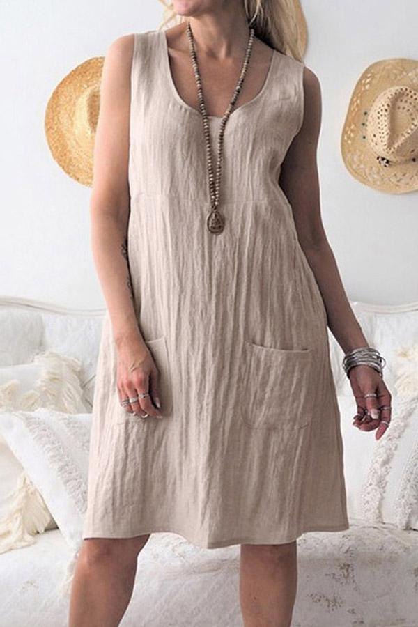 Linen Solid Pocket Sleeveless Mini Dress - Regocy