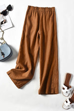 Self-tie Solid Linen Loose Pants - Regocy