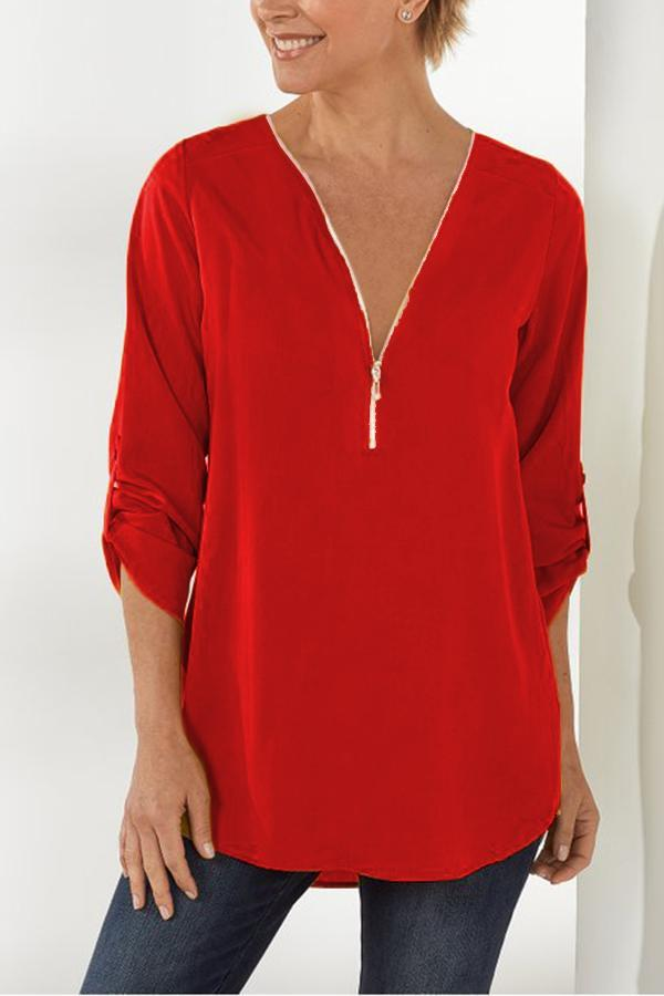 Solid Zipper V-neck Casual Chiffon Blouse