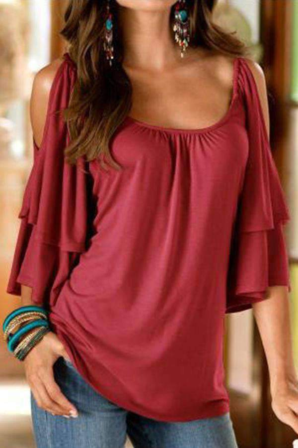 Cold Shoulder Double Layer Ruffle Sleeves Blouse - Regocy