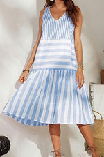 Casual Stripe V Neck Midi Dress