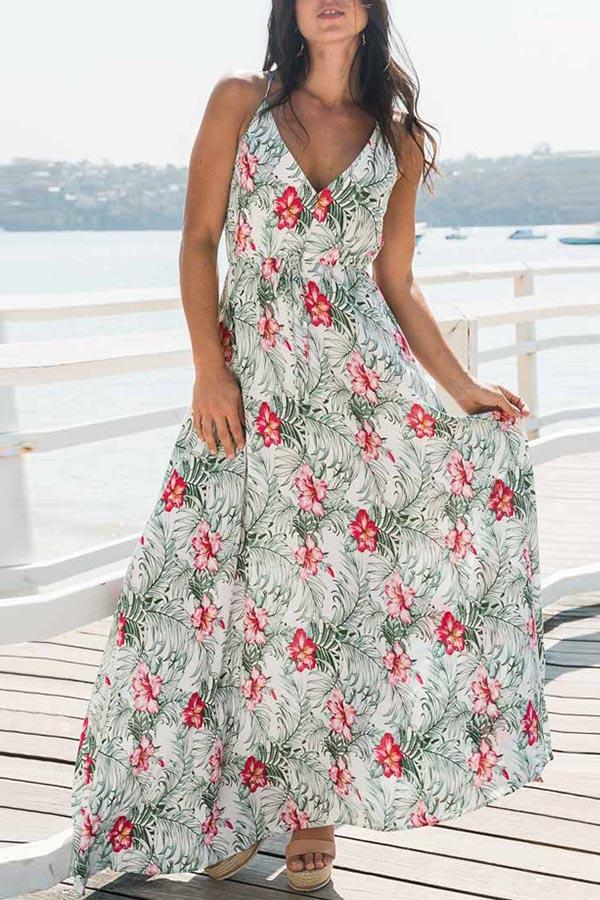 Bohemian Floral Print Plunging Neck Maxi Dress