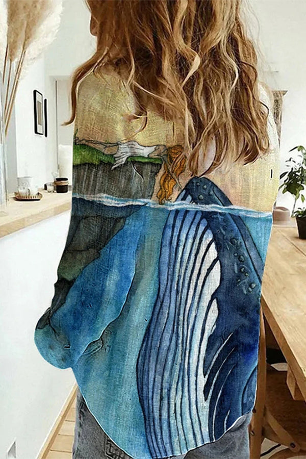 Artistic Blue Whale Girl Playing Landscape Seabed Print Buttoned Blouse