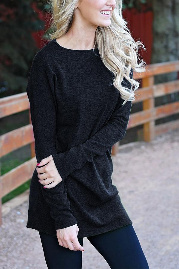 Solid Long Sleeves Knitted T-shirt
