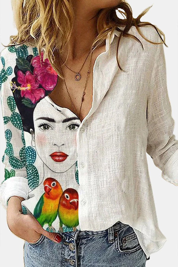 Color-block Frida Kahlo Gradient Parrot Hand Painting Print Casual Blouse