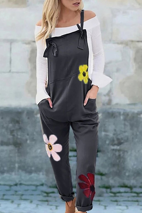 Casual Tie-up Floral Print Sleeveless Linen Jumpsuit