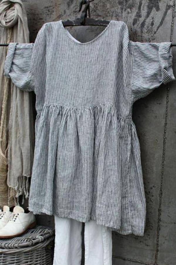 Casual Linen 3/4 Sleeve Stripe Mini Dress - Regocy