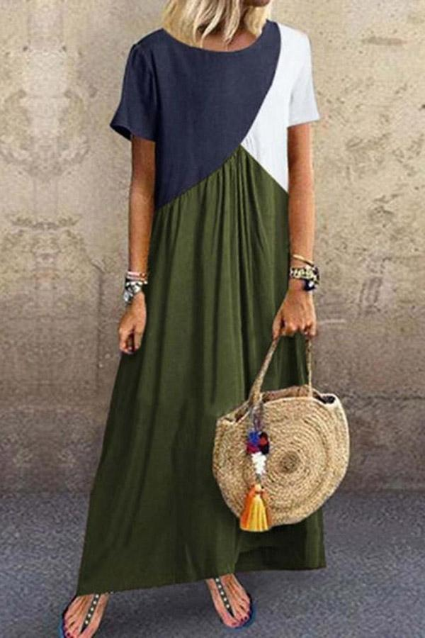Color-block Paneled Crew Neck Casual Maxi Dress - Regocy