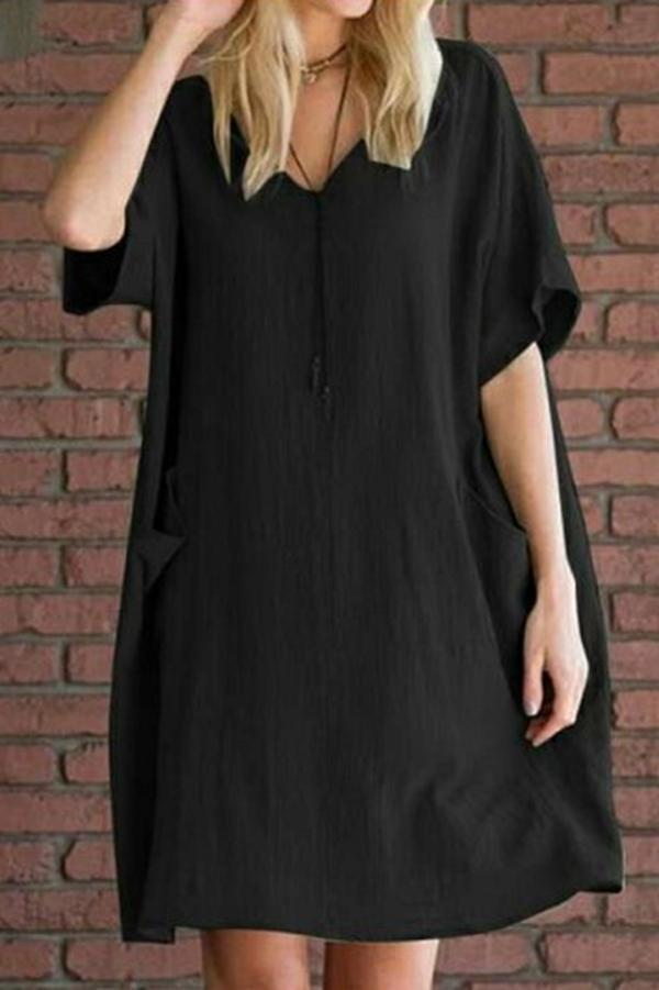 Linen V Neck Side Pockets Loose Dress - Regocy
