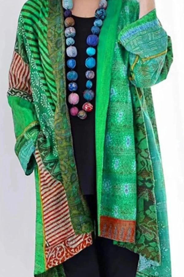 Bohemian Vintage Abstract Geometric Jacquard Pockets Coat