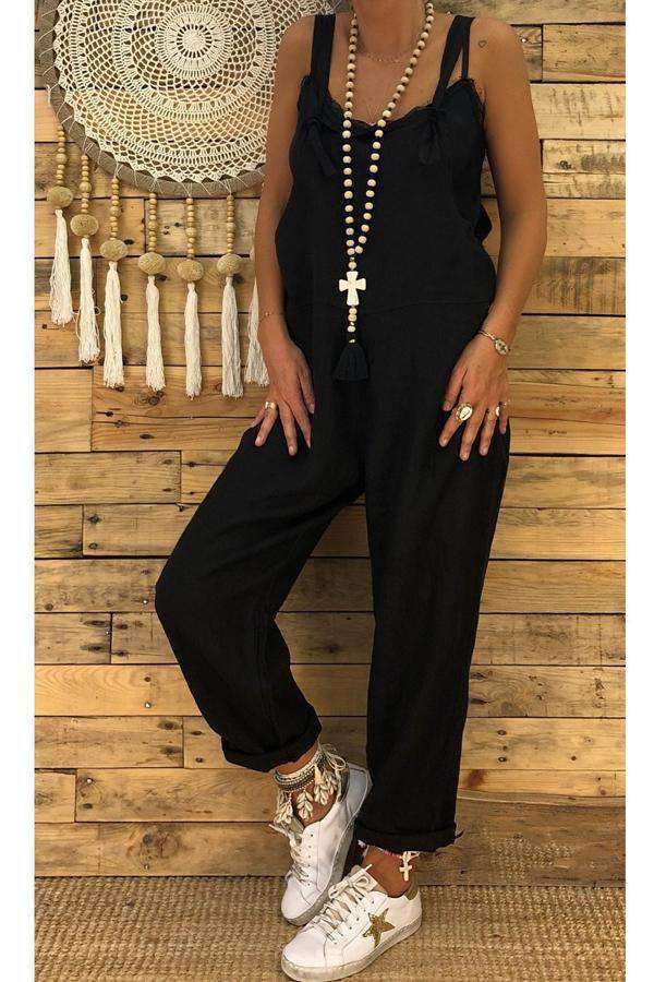 Square Neck Sleeveless Overall Outfits - Regocy