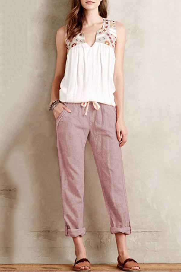 Linen Side Pockets Solid Self-tie Pants - Regocy