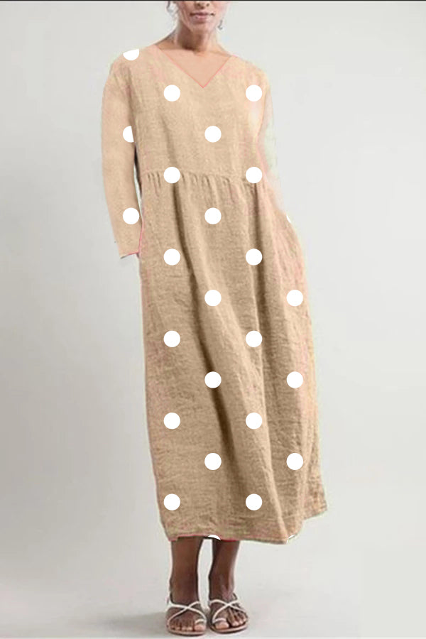 Linen Polka Dots Loose Midi Dress - Regocy