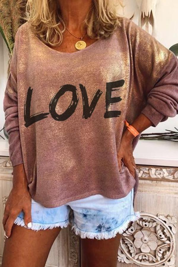 Casual Letter Printed Long Sleeves T-shirt