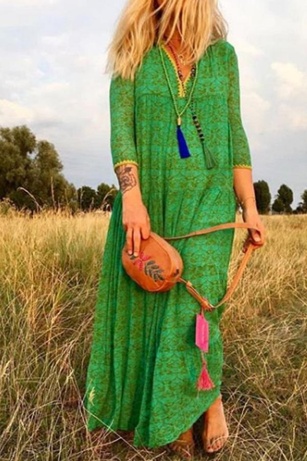 Bohemian Print Long Sleeves V Neck Maxi Dress - Regocy