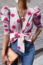 Casual Print V Neck  Puff Sleeve Blouse