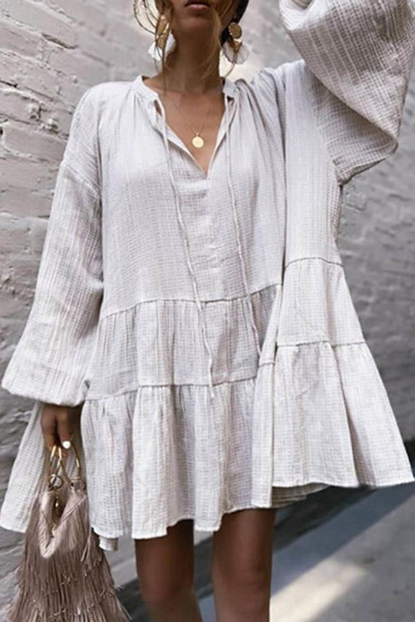 Linen Paneled Long Sleeves Solid Mini Dress - Regocy