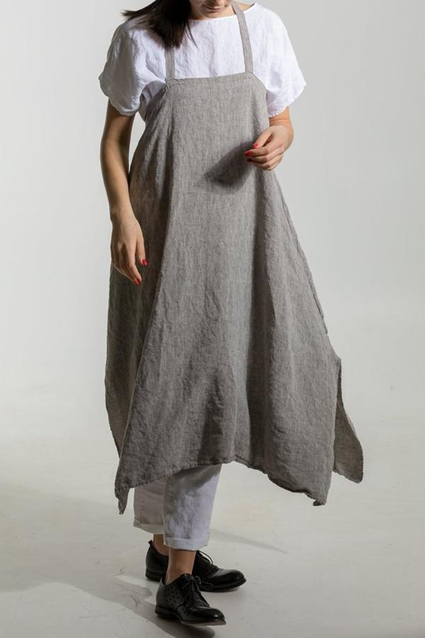 Linen Loose High Low Slit Midi Dress - Regocy
