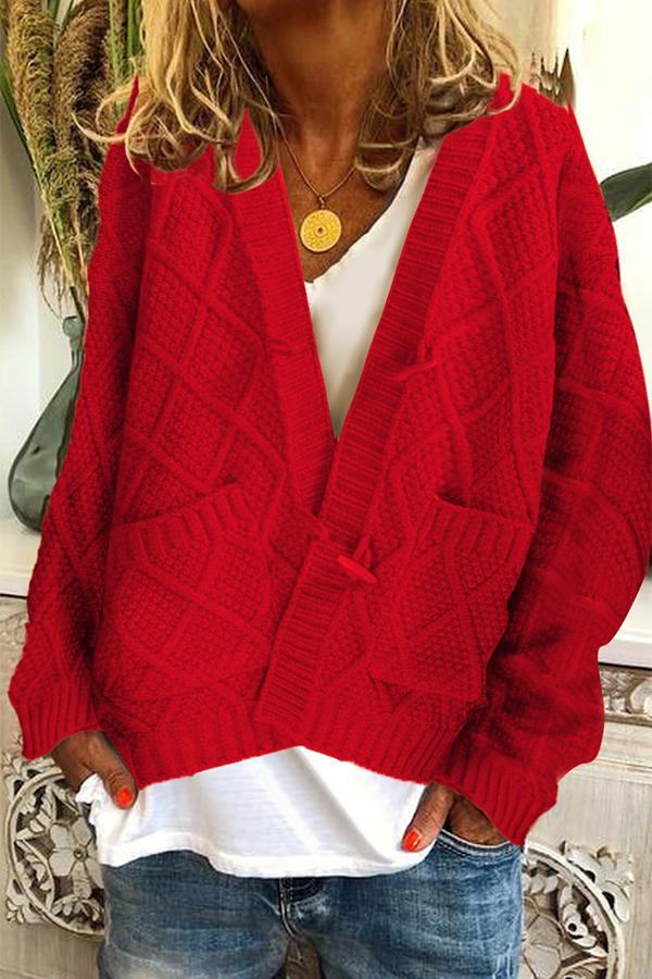 Solid Ribbed Horn Buckle Pockets Cardigan