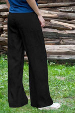 Casual Solid Side Pockets Self-tie Wide Leg Pants