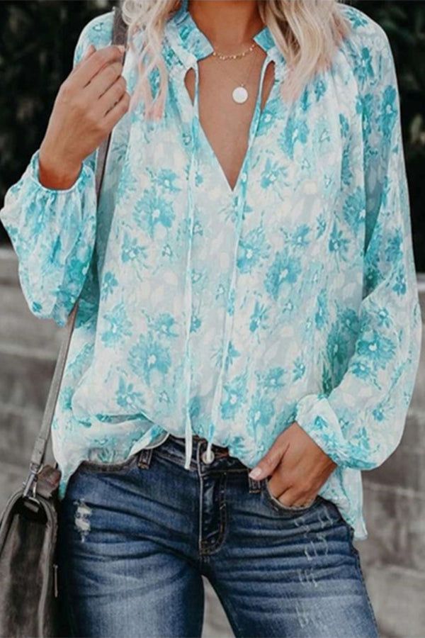 Holiday Floral Print Paneled Drawstring V-neck Chiffon Blouse