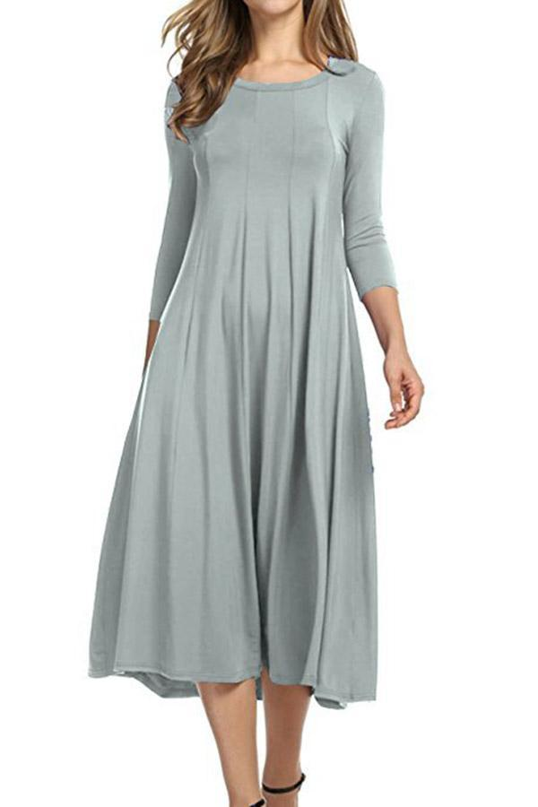 Solid Casual Crew Neck 3/4 Sleeves Midi Dress
