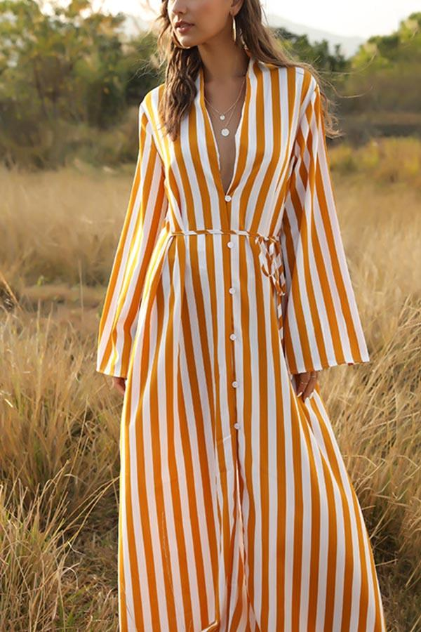 Stripe Loose Buttoned V Neck Self-tie Maxi Dress
