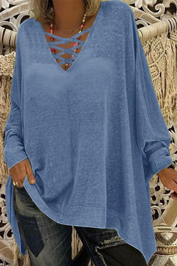 V Neck Bat Sleeves Loose Casual T Shirt - Regocy