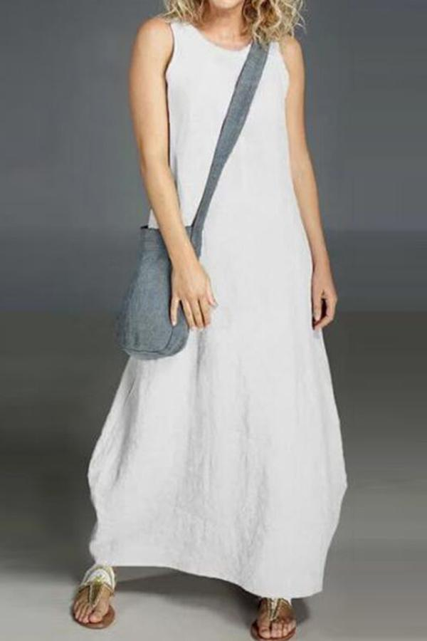 Basic Linen Solid Sleeveless Maxi Shift Dress - Regocy