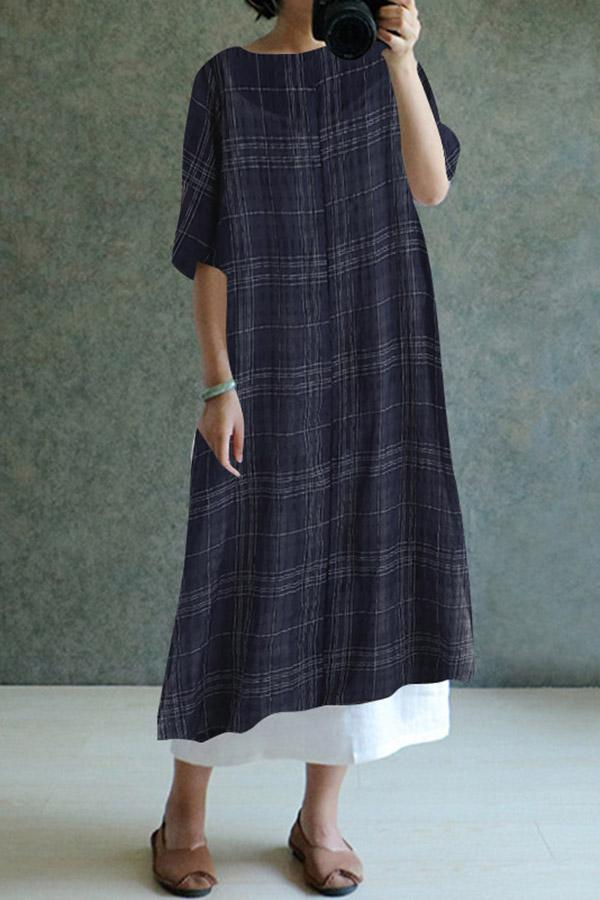 Plaid Shift Half Sleeves Midi Dress - Regocy