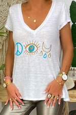 Casual Print V Neck Eyes  T Shirt