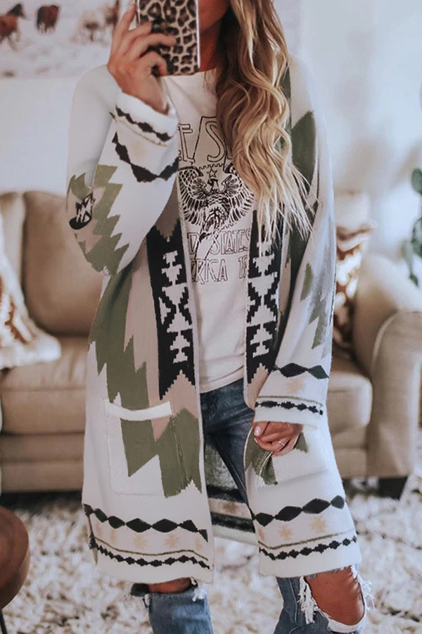 Geometric Jacquard Bohemian Open Front Pockets Slit Coat