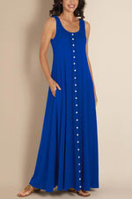 Solid Casual Button Sleeveless Maxi Dress