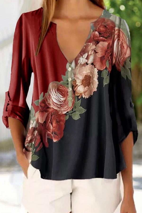 Vintage Color-block Floral Print V-neck Long Sleeves Blouse