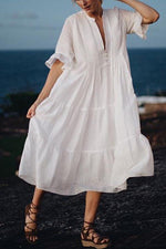 V Neck Buttoned Half Sleeves Shift Beach Dress