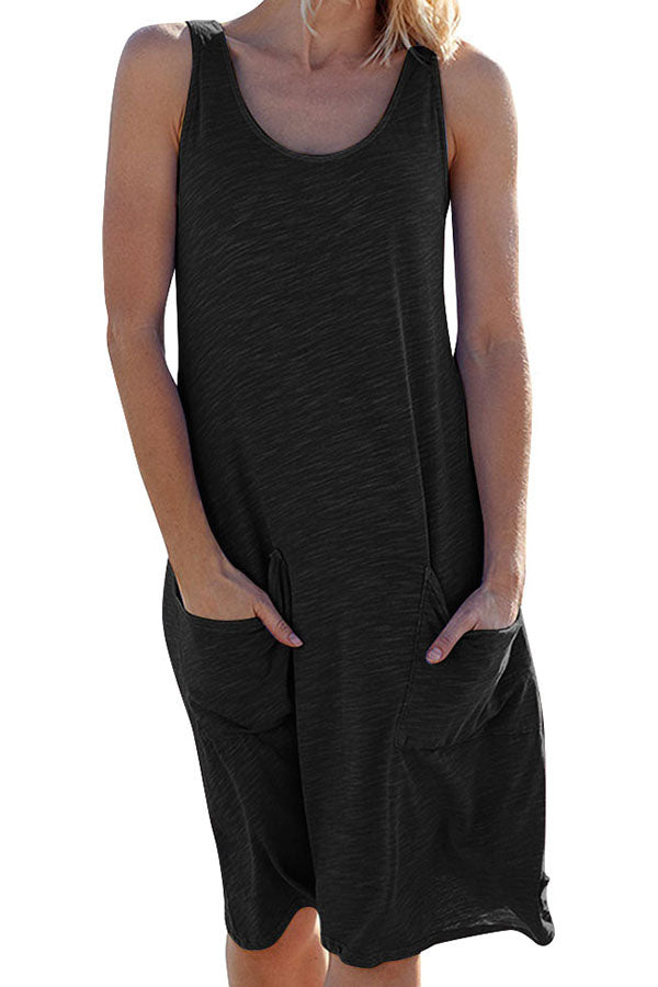 Solid Casual Loose Sleeveless  Midi Dress