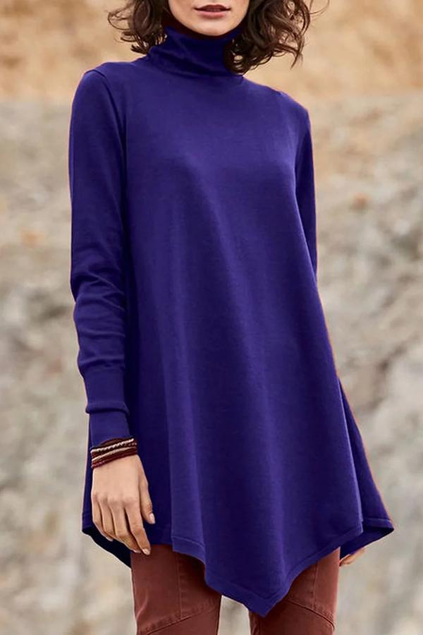 Solid High Neck Irregular Hem Blouse