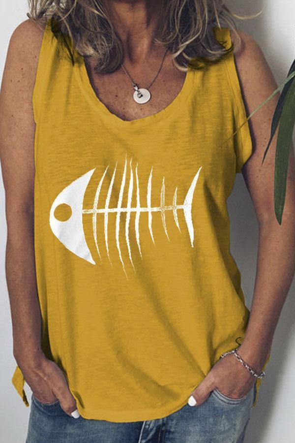 Fishbone Print Casual Tank Top - Regocy