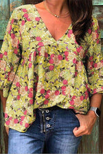 Plus Size Casual V Neck 3/4 Sleeve Floral Printed Top - Regocy